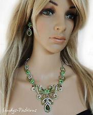 Verde set collana brillanti Collier orecchini gioielli sposa-G1