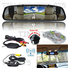 "4.3"" LCD Screen Car Rear View Mirror Monitor+360° Rotatable Camera Wireless Kit"