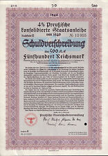 Germany NAZI State Prussian Deutschland bond 1940 500 RM