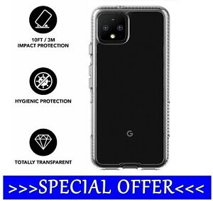 👉For Google Pixel 4 & 4XL👈Tech21 Evo  Clear Antimicrobial BioShield Case Cover