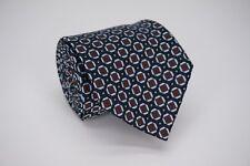ERMENEGILDO ZEGNA Recent Black w Brown Chainlink Plaid Woven Silk Tie - Italy