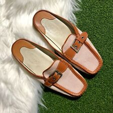Tod's Womens Mules Slip Flat Shoes Sz 6 1/2 Made In Italy