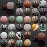 40MM Wholesale Natural Gemstone Sphere Crystal Reiki Healing Globe Ball W/Stand