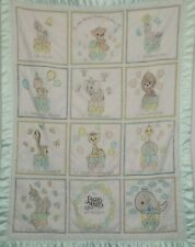 My First Precious Moments Counting Quilt Baby Blanket Animals Train Satin Trim