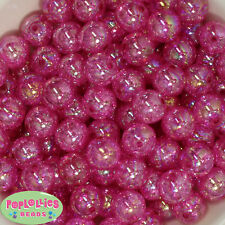 16mm Hot Pink Acrylic Crackle Bubblegum Beads Lot 20 pc.chunky gumball