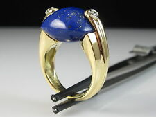 18K Lapis Lazuli Diamond Ring ANTONINI Yellow Gold Fine Jewelry Size 6