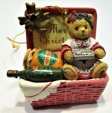 Cherished  Teddies Merry Christmas Basket Ornament.  #406627 Enesco