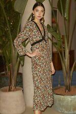 New RIXO TANIA RETRO DAISY Long Sleeved Midi Dress with Tie - L