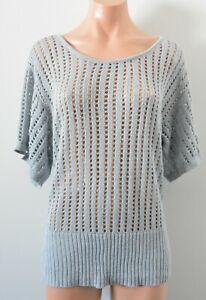 Ladakh Jumper Sweater Womens Size 12 Blue Grey Crochet Metallic Knit