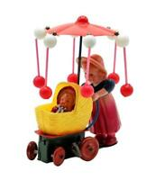 Japan Vtg Celluloid Tin Wind Up Girl Pushing Doll Baby Carriage Toy SEE  VIDEO