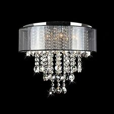 Flush Mount Chandelier Dining Lights Lighting Shade Crystal Bead Ceiling Light