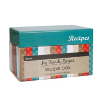 Family Recipe Card Box with 8 Tabbed Dividers and 40 Matching Recipe Cards