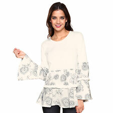 Camiseta escote redondeado y manga larga mujer - 015834