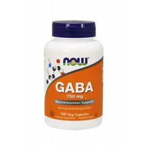GABA 750mg (100 Veg Caps.) - Neurotransmitter Support - Now Foods