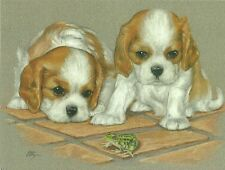 Double Trouble, Blenhem Cavalier King Charles Spaniel Puppies blank note card