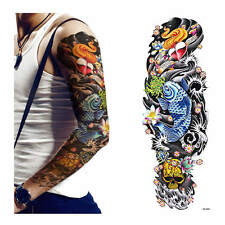 Temporary Tattoo sleeve Skull&Carp Stickers Body Art Waterproof