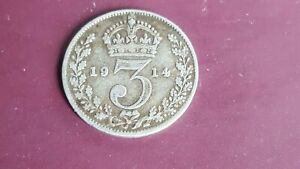 King George V. 1914. Silver Threepence Coin. ( Lot 1)