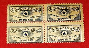 {CHILE/ REVENUES< TELEGRAFOS DEL ESTADO/ CIERRO OFICIAL< MINT Block OF 4< !!!}