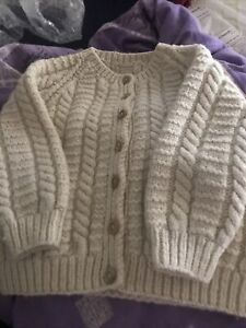 VINTAGE CABLE KNIT KNITTED CARDIGAN AGE 2-3YRS