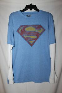 Superman Men's Logo Classic Long Sleeve Shirt Men's size L Large