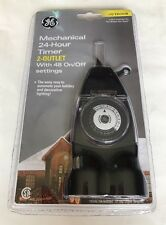 "GE Outdoor Mechanical 24-Hour Timer - 2 Outlets With 48 On/Off Settings  ""NEW"""