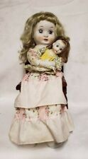 """Porcelain Mom Doll Holding Baby in Her Arms 18"""" Tall with Display Stand & Chair"""