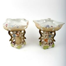 Vintage Dresden Porcelain Compote Candy Dishes Lady & Gentleman Romantic Couple