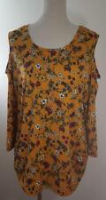 Say Anything Women's Size 2X Top 3/4 Sleeve Cold Shoulder Floral Jeweled Blouse