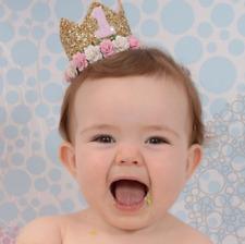 One Year Birthday Crown Flower Tiara Headband for Baby Girl Boy Hair Bands