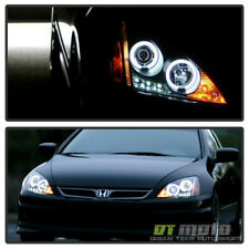 For Black 2003-2007 Honda Accord LED Dual Halo Projector Headlights Left+Right