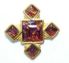 VINTAGE YSL Yves Saint Laurent DICHROIC RED GOLD tone Maltese cross BROOCH pin