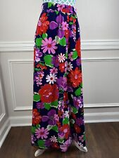 Vintage 60s Velvet Maxi Skirt Floral Mod Long Womens XS Small Bright Colorful