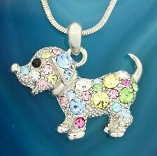 "DOG Necklace Made With Swarovski Crystal Puppy Pet Multi Color Pendant 18"" Chain"