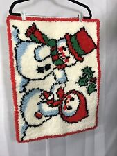 """Vintage Finished Snowman Latch Hook Christmas Rug Wall Hanging Holiday 28X20"""""""