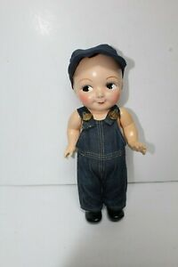 RARE Buddy Lee Composition Doll Overall Denim & Cap, Lee Jeans Advertising 1930s