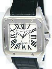 Cartier Santos 100 Steel Silver Roman Dial Mens Automatic Watch 2656 W20073X8