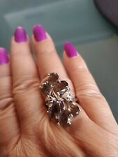 Large Smokey Quartz and Topaz Ring 925  Sterling Silver size 7 NWOT