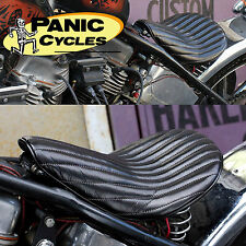 "LEATHER ""556"" VERTICAL RIB HI-BACK SOLO SEAT TUCK & ROLL HARLEY BOBBER CHOPPER"