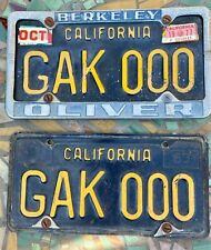 VINTAGE BLACK AND YELLOW CALIFORNIA LICENSE PLATE PAIR 1977 STICKER BERKELEY
