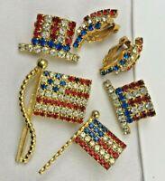 LOT Vintage  Rhinestone Flag Top Hat  earrings  Pin Brooch Political Poll worker