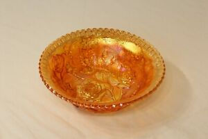Antique Carnival Glass Bowl Orange Color Flowers Roses Scalloped Rim