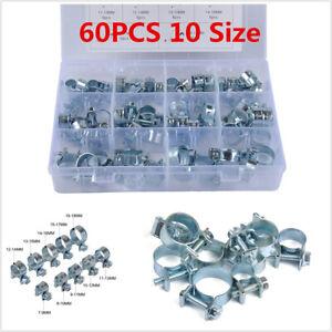 60Pcs Carbon Steel Hose Clamp Car Pipe Tube Fuel Injection Assortment Set Kit