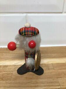 Retro Vintage Wooden Fur Gonk Mid Century Ornament Highland Figure