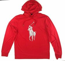 Polo Ralph Lauren Men's Sz M Performance Big Pony Hooded T-Shirt Red/Silver