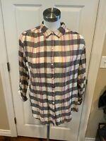 Isabella Sinclair Anthropologie White Plaid Button Up Shirt W/ Lace, Size M
