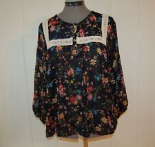 COLOR OF LOVE SHEER LAYERING TOP XL Navy Blue Floral Print Crochet Shirt Blouse