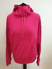 FF119 WOMENS ADIDAS PINK L/SLEEVE GLITTER EMBLEM PULLOVER HOODIE UK 14