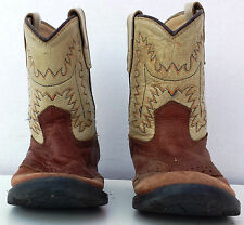 Kids Girls Size 8 Old West Tan/Brown Cowboy Western Boots