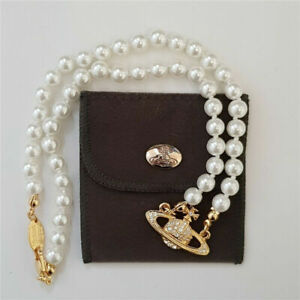 Vivienne Westwood Mini Bas Relief Pearl CHOKER Necklace with Gold Orbit