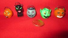 Rare Set of 5 Miniature Halloween Candy Buckets Pails 1:12 Doll House Pumpkins